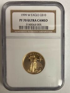 1999-W 1/4 OZ AMERICAN GOLD EAGLE $10 PROOF NGC PF70 ULTRA CAMEO RARE BULLION