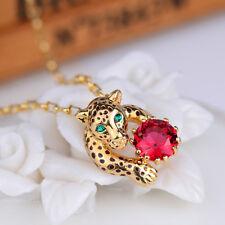 Bracelet Plaqué Or Panthere Leopard Metal Cristal Rouge Artisanal Original L4