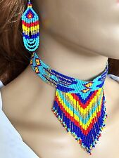 HANDMADE BEADED NATIVE STYLE ETHNIC BLUE MULTI-COLOR CHOKER NECKLACE EARRINGS
