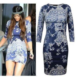 UK 8 10 12 14 Ladies Women Printed Floral ¾ Sleeve Bodycon Midi Party Dress Top