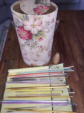 Vintage Knitting Yarn Sewing Canister Case Tote With Assorted Needles, Floral