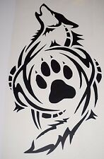 Wall Sticker custom Vinyl indoor decal window laptop removable Art dog Wolf paws