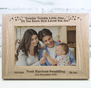 Personalised New Baby Photo Frame Christening Gift Birth Twinkle Twinkle
