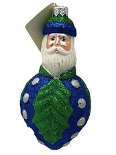 Patricia breen glass ornament: holly berry Santa, all glittered blue and green