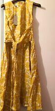 Hobbs Twitchill Dress, Yellow/White, 10. £129
