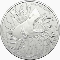 2021 $1 Silver 1oz Great White Shark Investment Coin Limited Mintage RAM