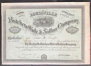LOUISVILLE BUTCHERS HIDE & TALLOW CO Stock 1918 Louisville, KY Rendering Tanning