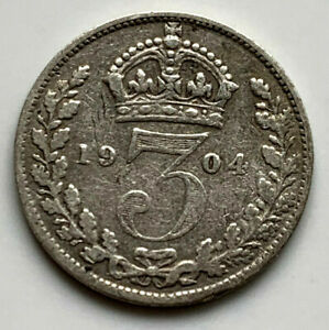 1904 King Edward Vll Silver .925 Threepence 3d Coin. Good Grade With Nice Detail