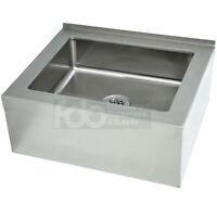 "25"" Stainless Steel 20"" x 16"" 12"" Floor Mop Bucket Utility Sink Commercial Drain"