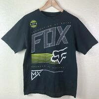 Fox Men's Medium Black Yellow White Motorcross 100% Cotton Short Sleeve T Shirt