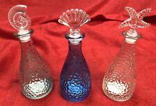 Lot 3 Glass Decorative Bottles Beach Ocean Theme Starfish Nautilus & Shell Tops