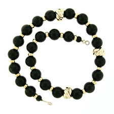 """Vintage 24.5"""" HUGE 18mm Round Black Onyx & 14k Yellow Gold Bead Strand Necklace"""