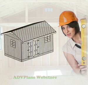 10X16 GABLE ROOF GARDEN SHED, 26 OUTDOOR SHED PLANS, CD, ADV PLANS WOOD SHEDS CD