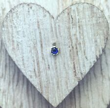 Round Blue Spinel Gemstone Set in a 4-Prong Sterling Silver Halo Setting Pendant