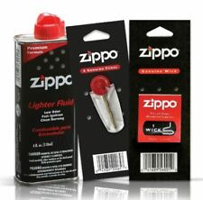 Zippo Cigarette Genuine Lighter Premium FLUID Petrol Refill 125ml+ Wick + Flints