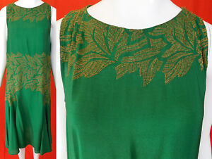 Vintage Art Deco Emerald Green Silk Gold Lame Embroidered Leaf Flapper Dress