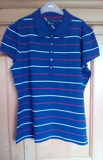 Tommy Hilfiger Ladies Blue Striped Short Sleeve Cotton Blend Polo Shirt, XL