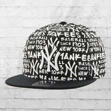 47 Brand cappuccio NY Yankees MLB All-Over Basecap SNAPBACK CAP NERO CAPPELLO BIANCO