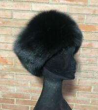 black FOX FUR HAT CAPPELLO COLBACCO PELLICCIA di VOLPE nera FOURRURE PELZ renard