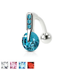 Reverse Triple CZ Gem Belly Ring Navel Naval Clear, Pink, Aqua, Red