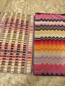 2 X MISSONI MULTICOLOURED HAND /GUEST SMALL 100% COTTON BATHROOM TOWELS