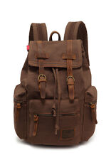 Men's Vintage Canvas Outdoor Travel Hiking Backpack Rucksack Shoulder School Bag