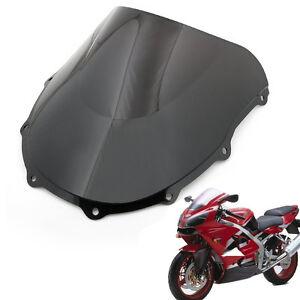 New Black Double Bubble Windscreen Windshield ABS For Kawasaki ZX7R 1996-2003