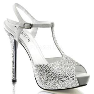*** Pleaser Prestige-10 white suede platform stiletto heels pumps sandals 9