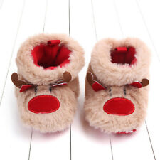 Baby Girls Boys Cartoon Fluffy Deer Warm Boot First Walkers Christmas Shoes