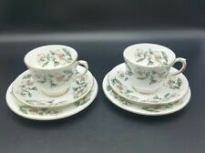 More details for crown staffordshire christmas rose tea cup/saucer/plate-tea trio-set of 2