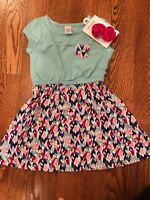 Girls' Gymboree Dress w/ Heart Print Skirt & Pocket and Pink Hair Clip NWT GYM30