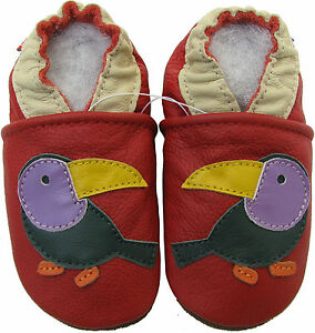 carozoo toucan red 2-3y new soft sole leather toddler shoes