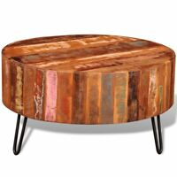 Antique Round Cocktail Coffee Table Reclaimed Solid Wood Living Room Furniture