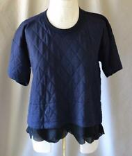 Comme des Garcons Navy Quilted Short Sleeve Wool Top w/contrast hem Sz S