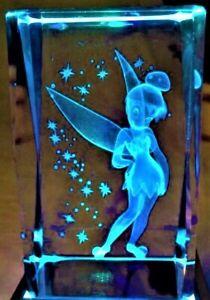 3D TINKERBELL FAIRY TINKER BELL STARS (2) CRYSTAL Laser+LIGHT BASE NEW GIFT BOX