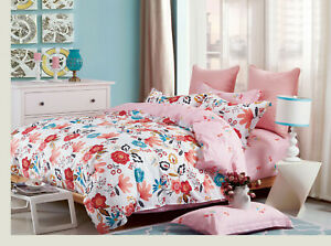 200tc Pink Printed Duvet Cover 100% Cotton Quilt Bedding Set Double or King Bed