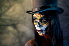BEAUTIFUL MEXICAN SUGAR SKULL CANVAS PICTURE #29 STUNNING GOTHIC MAKE UP CANVAS