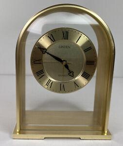 Vtg Mcm Linden Quartz desk Mantle clock  gold tone  Glass Roman Numbers Japan