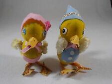 Vtg Easter Chenille Molded Flocked Cardboard Girl Boy Duck Figures Pipe Cleaner