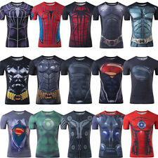 Mens T-shirt Marvel Compression Stretch Jersey Gym Sport Slim Shirt Short Sleeve