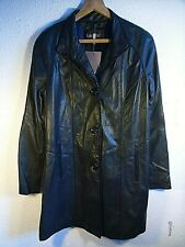 BNWT Lakeland Glove Touch Aniline Leather Knee Length Black Coat.Buttons.UK10