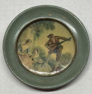"Vintage Victorian Women Prints Pictures Mini Round Wood Frame- 4 1/2"""