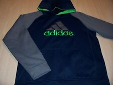 ADIDAS CLIMAWARM LS BLUE/GRAY HOODIE BOYS LARGE 14-16 EXCELLENT CONDITION