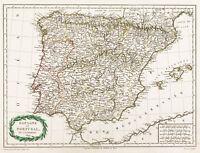 1809 , Mapa Antigua España & Portugal, Malte-Brun. Mapa Antiguo De España