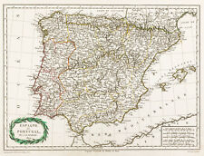 1809, Carte ancienne Espagne & Portugal, Malte-Brun. Mapa antiguo de España