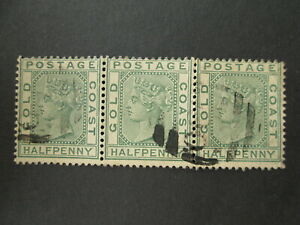 GOLD COAST strip of 3 stamps QV 1884