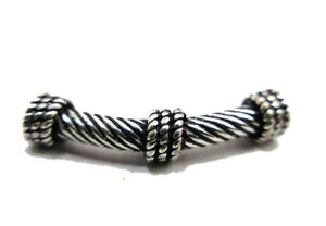 14 PIECES 25X3MM BALI TUBE BEAD ANTIQUE STERLING SILVER PLATED 310 DMH-690