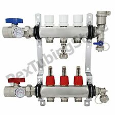 "3-Branch PEX Radiant Floor Heating Manifold Set - Stainless Steel, for 1/2"" PEX"