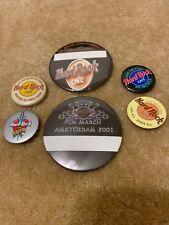 Lot Of 6 Hard Rock Cafe Vintage Pinback Button Pin Amsterdam Stockholm