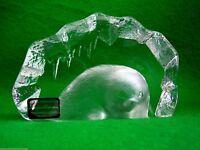 Mats Jonasson Intaglio Crystal Signed Swedish Scandinavian Paperweight Seal Cub